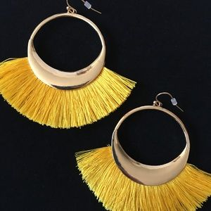 NEW! SASSY Yellow Tassel Dangle Earrings!